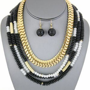 Jewelry - Black, White, Gold Beaded Necklace Set